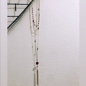 Three Layer Long Gold with Red bead necklace